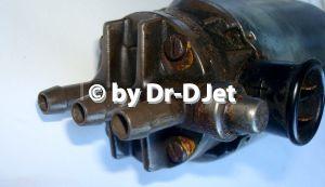 Benzinpumpe früh: 3 Flansche und kombiniertes Überstrom- und Rückschlagventil