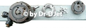 Späte Rollenzellenpumpe: Saugflansch vorne und Druckflansch hinten
