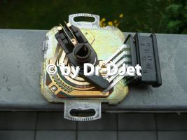 5-poliger DKS geöffnet in Volllaststellung, oben die Schleppkontakte